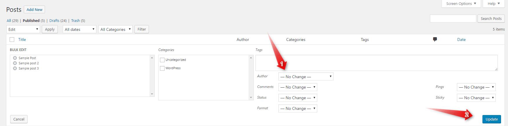 WordPress Change Author