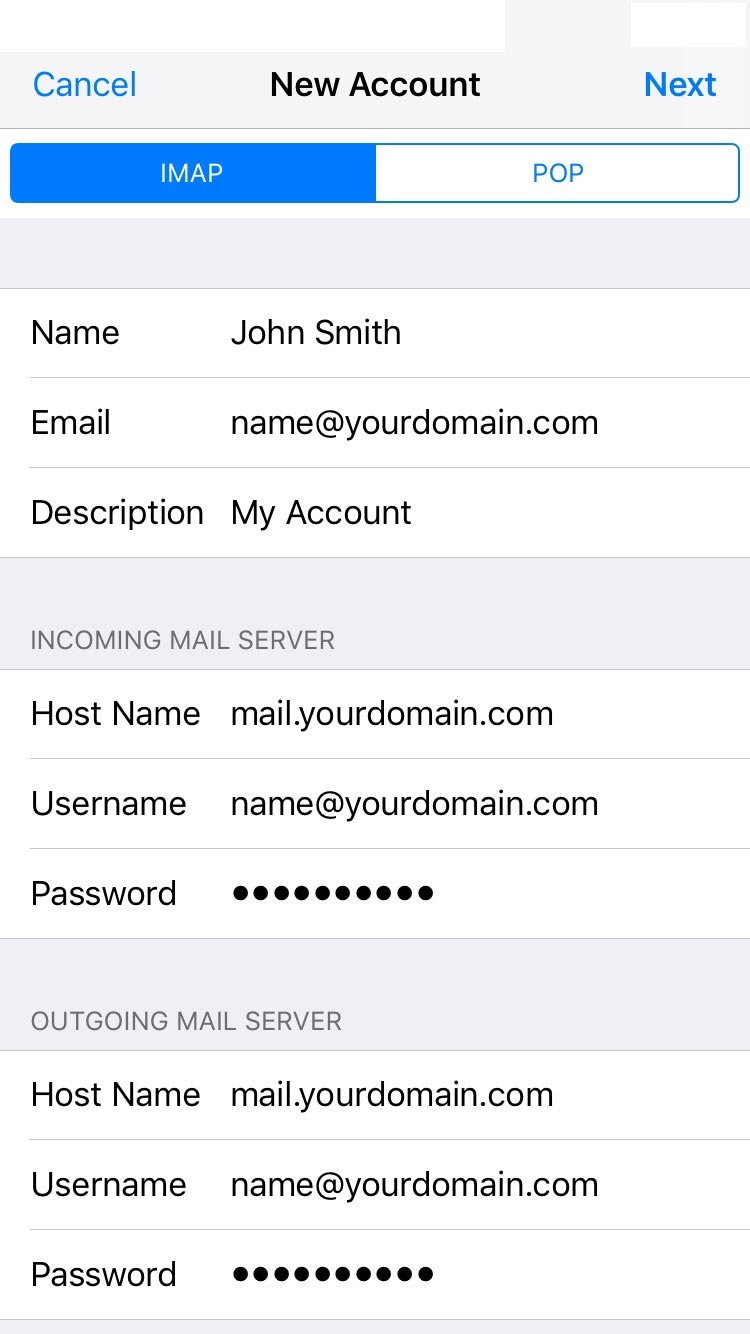 email account settings 13