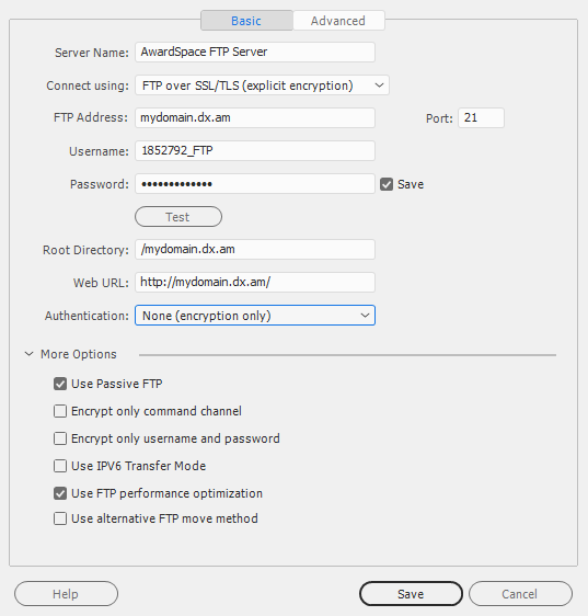 ftp connection settings 16