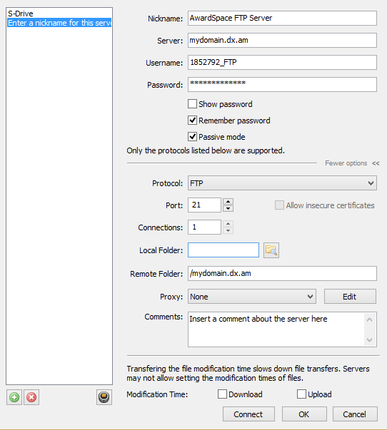 ftp connection settings 6