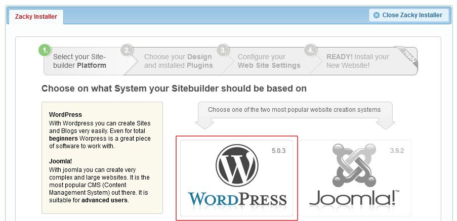 Install WordPress with Zacky Installer