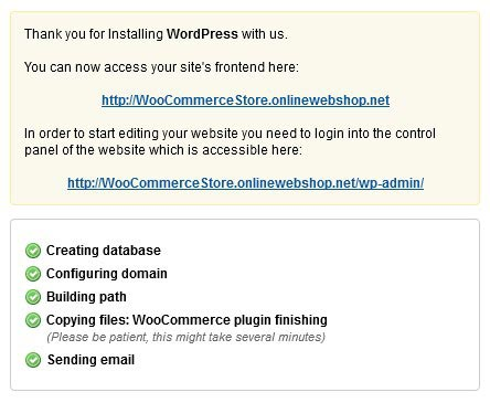 WordPress installation is complete
