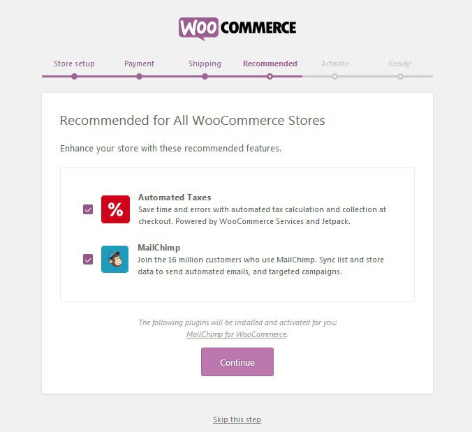 WooCommerce Recommended Setup Page