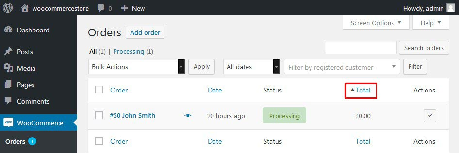 Using the Sort and Filter Options on the Orders Page