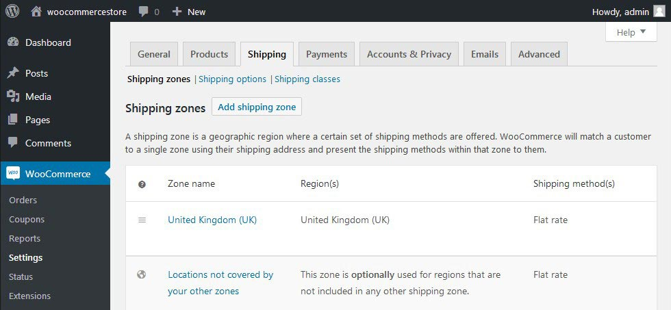 WooCommerce Settings Shipping