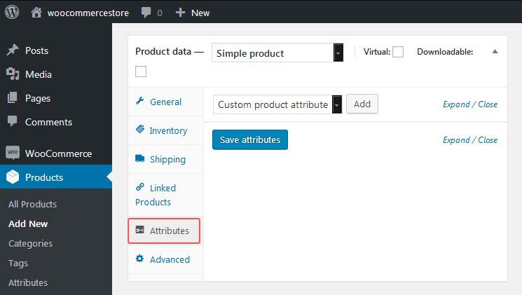 WooCommerce Attributes Tab