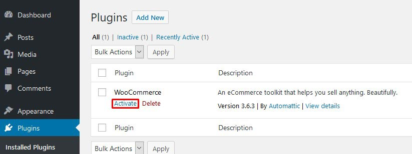Activate WooCommerce