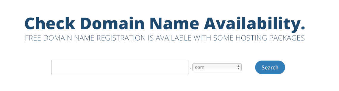 You can use our search tool to find a domain that suits you. You can choose a different domain extension using the dropdown menu.