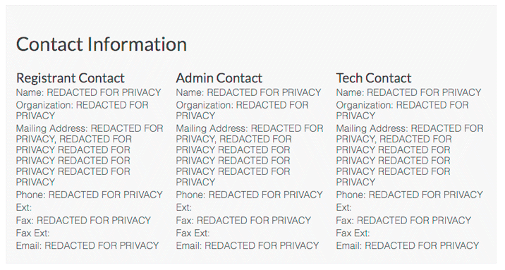 The contact details returned by ICANN's WHOIS Lookup tool. Since the domain in the example falls under the protection of the GDPR, all data is redacted.
