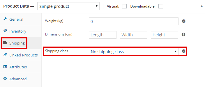Assigning shipping classes to products