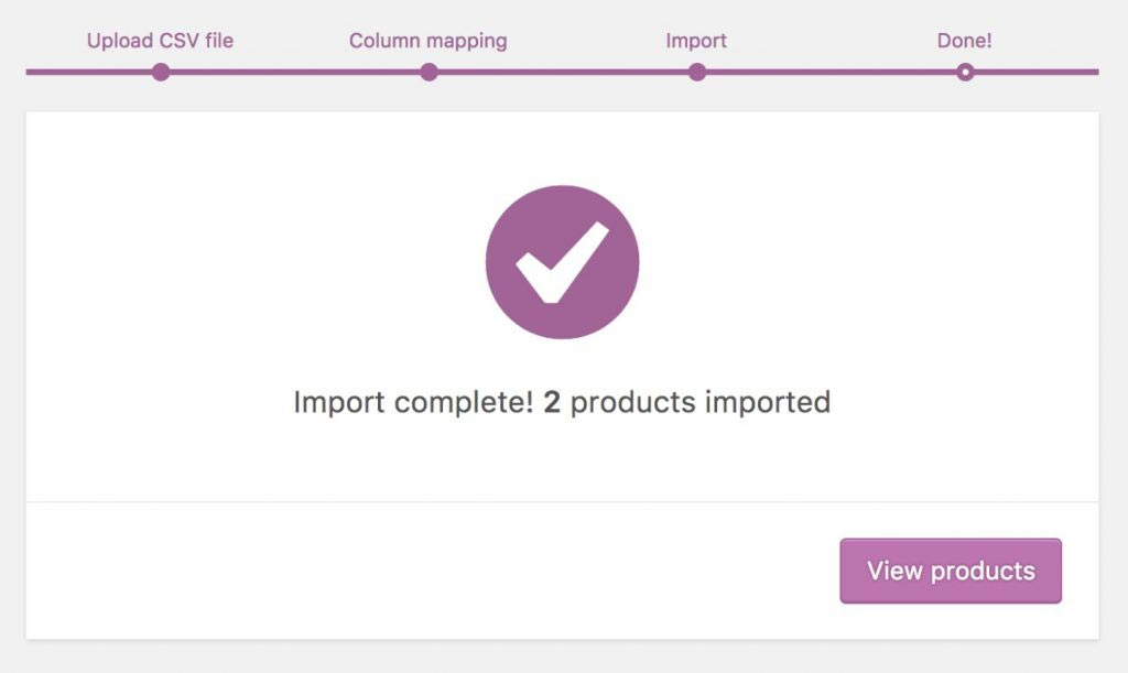 WooCommerce products Import complete